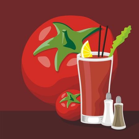 bloody mary cocktail: Bloody Mary cocktail set with glass, tomato, salt and pepper.