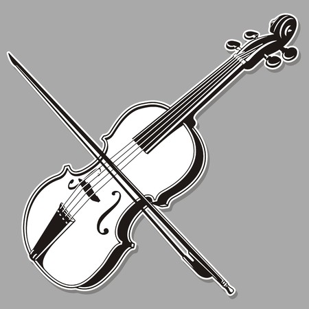 fiddles: Black and white violin line art, isolated on gray background. Illustration