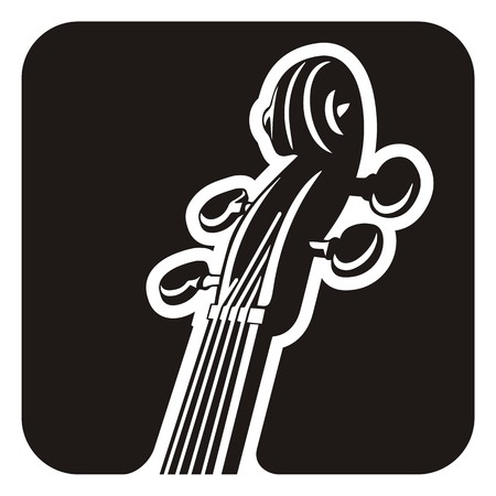 fiddles: Black and white violin detail icon.