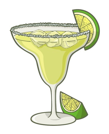 margarita: Margarita cocktail illustration with lime slice.