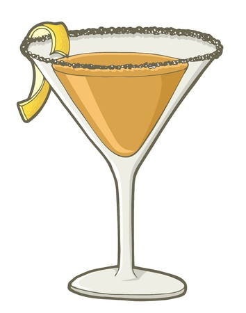 Sidecar cocktail in martini glass and stripe of lemon rind.