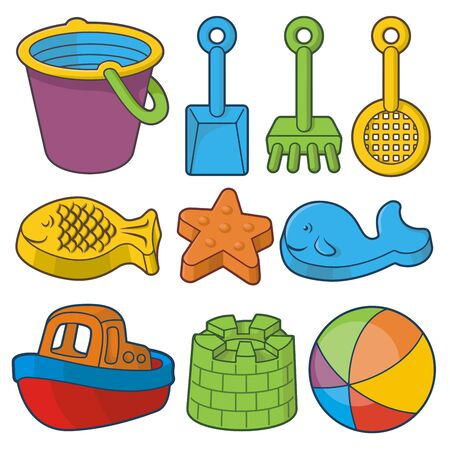 Beach toys icon set. Bucket, fish sand molds, toy shovels, ship and beach ball.