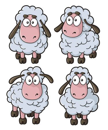 Four sheep cartoon icons isolated on white background.  イラスト・ベクター素材