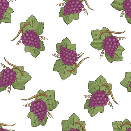 Red grapes with leaves colored illustration seamless pattern background with engraving shading.