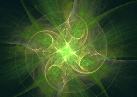 Abstract spectacular fractal composition on a green background. Generated by computer.