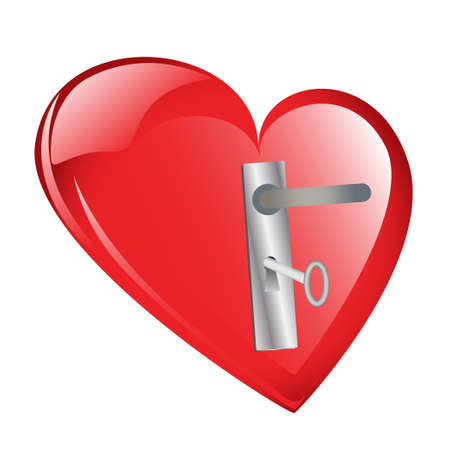 Red heart with door lock and key isolated against a white  photo