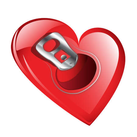 can opener: Red heart with soda can opener ring  isolated against a white