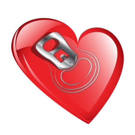 can opener: Red heart with soda can opener ring  isolated against a white background