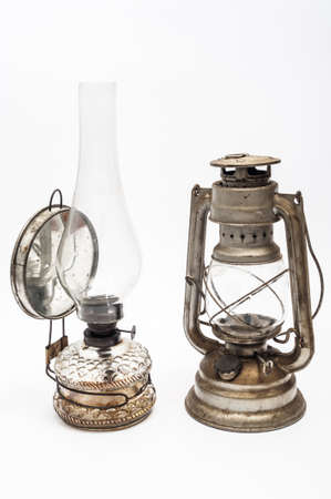 Two vintage gas lamp on a white background photo