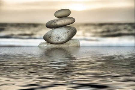Stone tower on the Beach photo