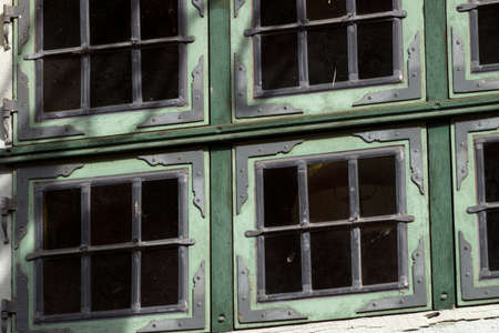 half timbered house: Window in a half-timbered house Stock Photo