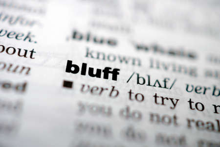 bluff: Closeup page with text BLUFF