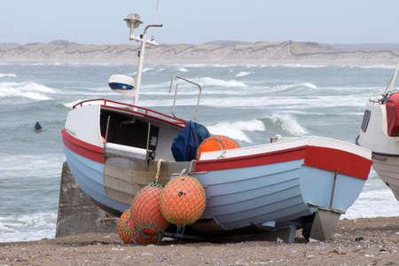 Danish fishing boat on the beach