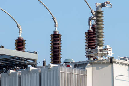 Substation for electric current Stock Photo