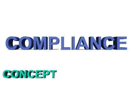 Compliance as 3D text on a white background