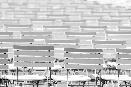 White chair rows in a spa park in Black & White bright