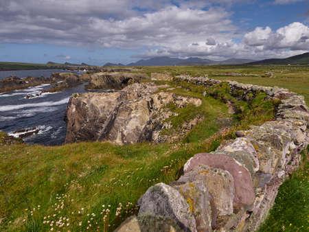 Coastline of the Dingle peninsula, Western Ireland, on a sunny summer day