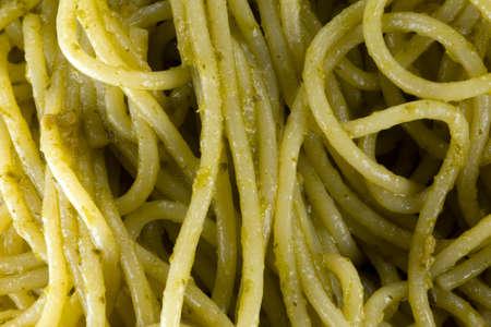 Spaghetti seasoned with pesto Archivio Fotografico