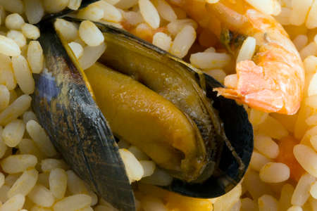Seafood risotto background. Stockfoto