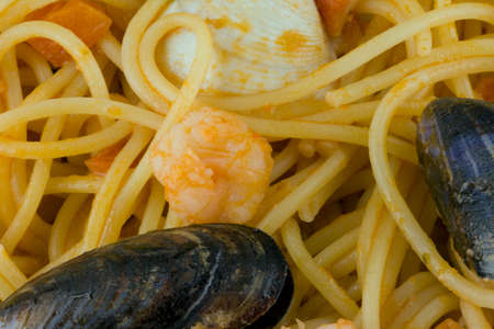 Spaghetti with seafood Stockfoto