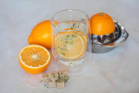 Fresh lemonade with ginger lemons, thyme and cane sugar Stock Photo - 27368293