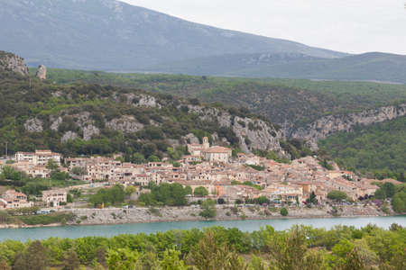 cited: View to the medieval village Bauduen across the lake St Croix Verdon, Provence, France Stock Photo