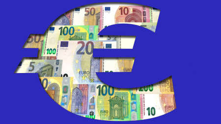 euro symbol cut out in blue with banknotes in the background 版權商用圖片