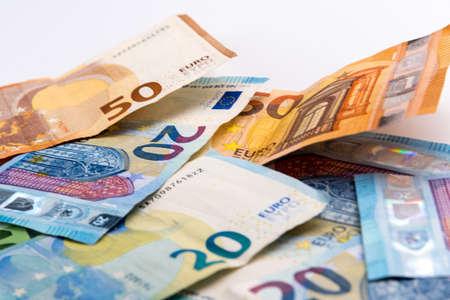 European banknotes of euros, close up