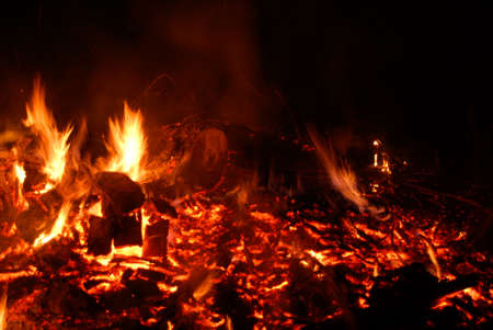burning embers of large wood fire with flames Banque d'images