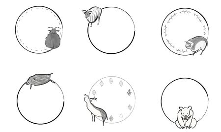 Japanese-style circular frame of hand-painted cute animals Иллюстрация
