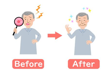 Before-after Grandpa suffering from stomatitis