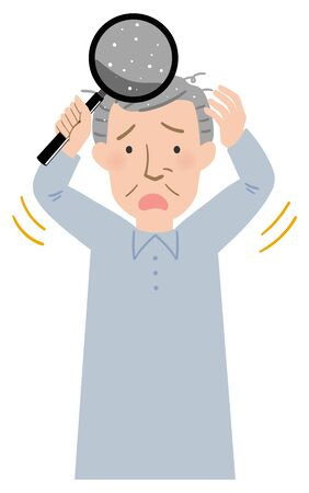 Vector illustration of Grandpa suffering from dandruff of the scalp
