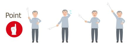 Systemic vector illustration of Grandpa pointed to by pointing stick