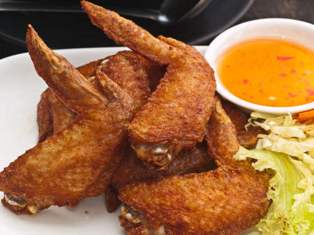 crispy: Fried Chicken wing on plate Stock Photo