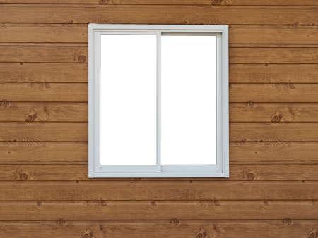 White Window on wood background Stock Photo - 9213592