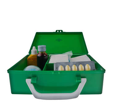 holdall: Green first aid kit box against a white background