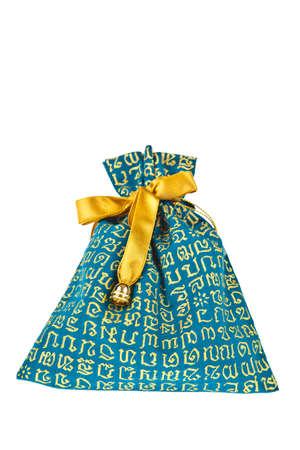 gift cotton bag on white isolated background. photo