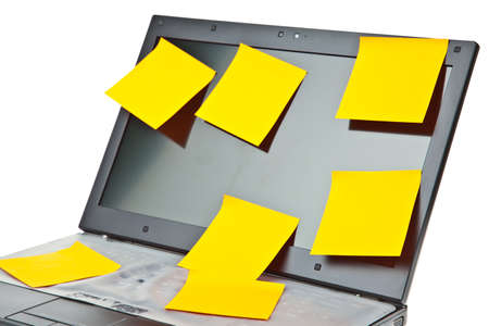 Laptop notebook isolated on white with postits on it Stock Photo - 9715278
