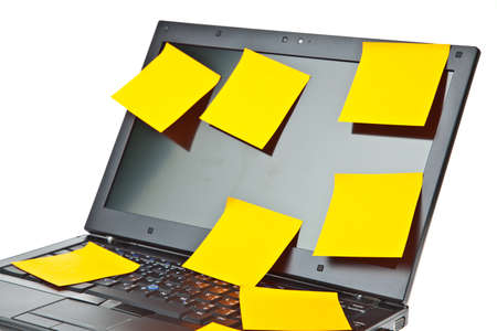 Laptop notebook isolated on white with postits on it Stock Photo - 9715274