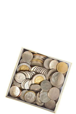 Coins thai baht in the box Stock Photo - 9715275