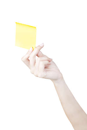 Hand and Post-it isolated on white Stock Photo - 9911548