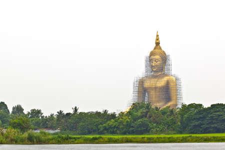 godhead: reconstruction of gold buddha Stock Photo