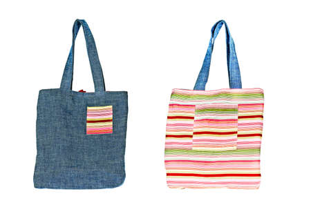 Colorful cotton bag on white isolated background. Stock Photo