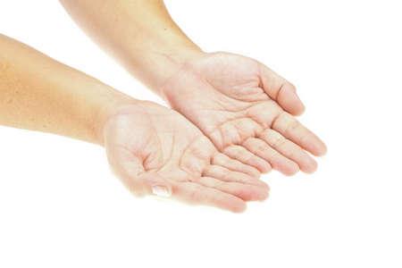 manos abiertas: Mano, manos abiertas con un objeto. insertar su producto. Imagen aislada