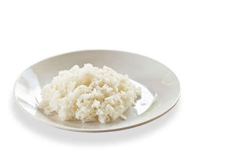 Thai food, jasmine rice cooked on plate, on  white background photo