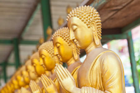 Golden Buddha statue in Thaland temple photo