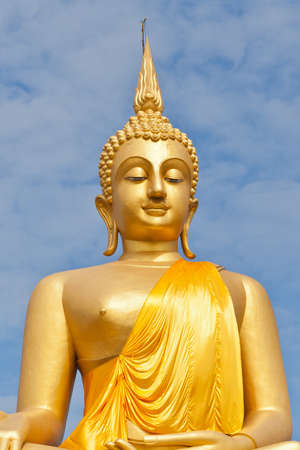 Big Golden Buddha statue in Thaland temple photo