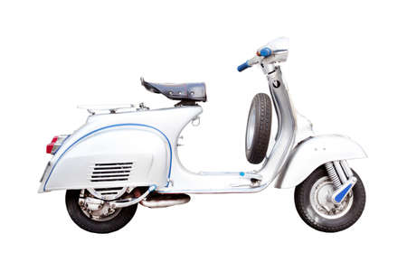 vintage motorcycle, Classic Italian scooter on a white background Stock Photo