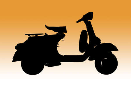 vintage vespa, Classic Italian scooter as Silhouette photo