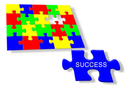 Colorful jigsaw puzzle Success Stock Photo